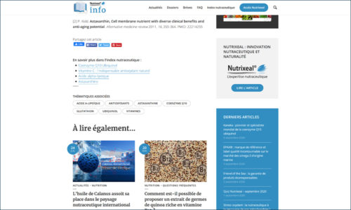 Nutrixeal Info pied de page et fonctionnalites