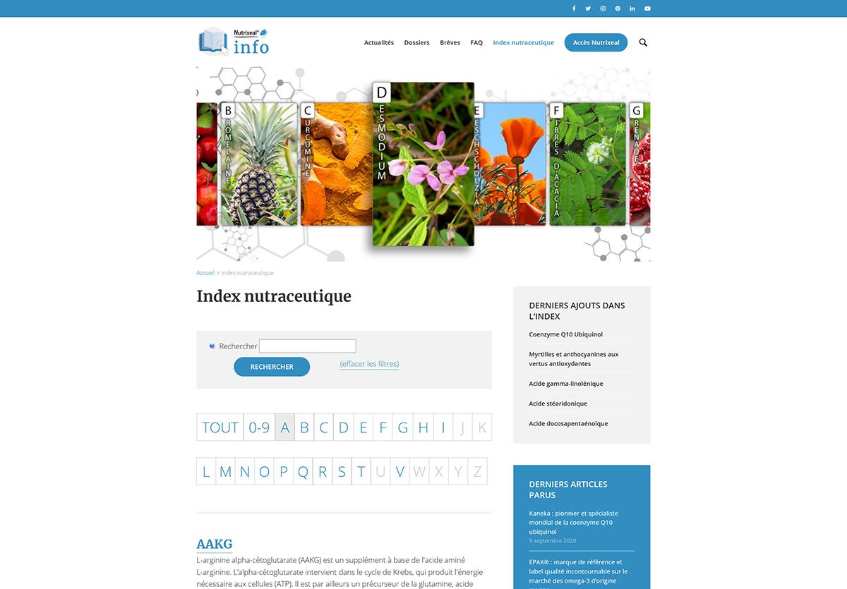 index nutraceutique Nutrixeal Info moteur de recherche